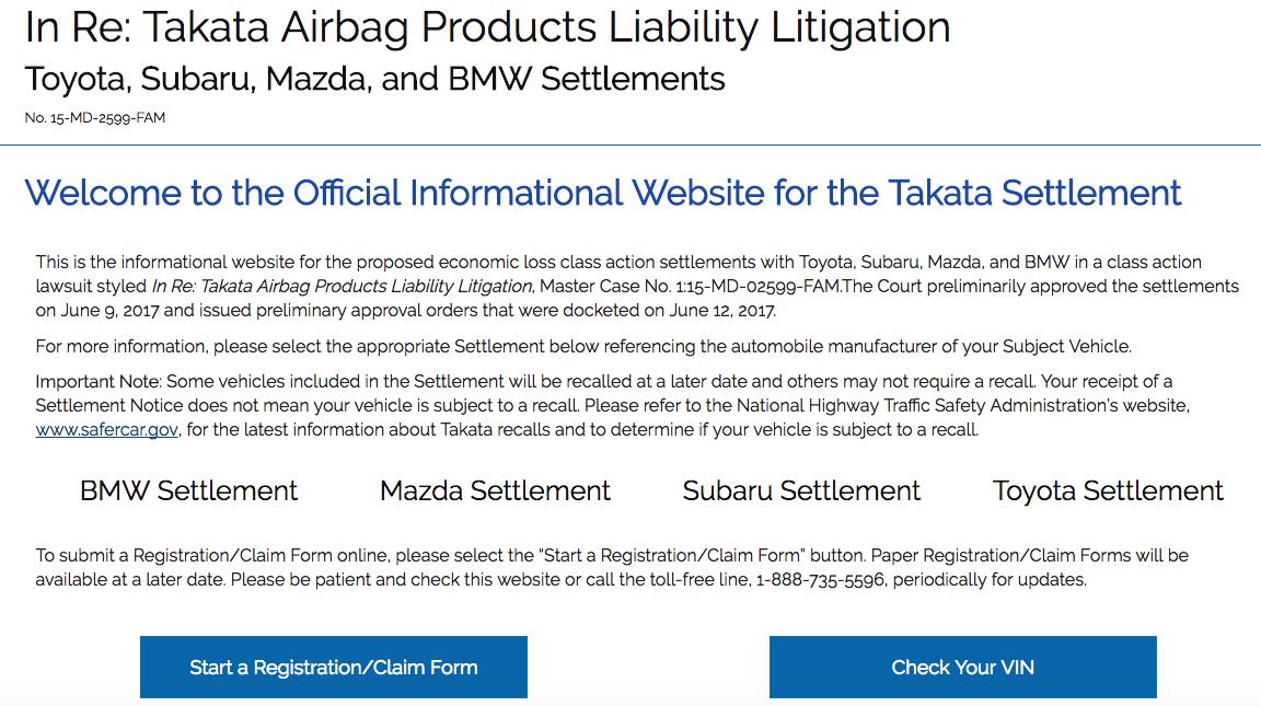 Auto Airbag Settlement >> www.autoairbagsettlement.com - Start Registration Claim Form